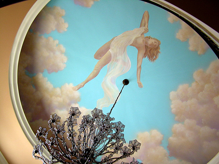 Beautiful angel in ceiling mural