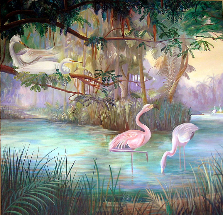 South Florida mural of pink flamingos